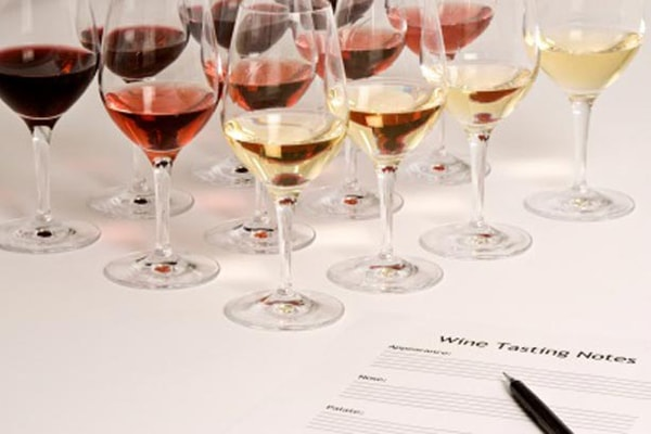 wine with tasting sheet