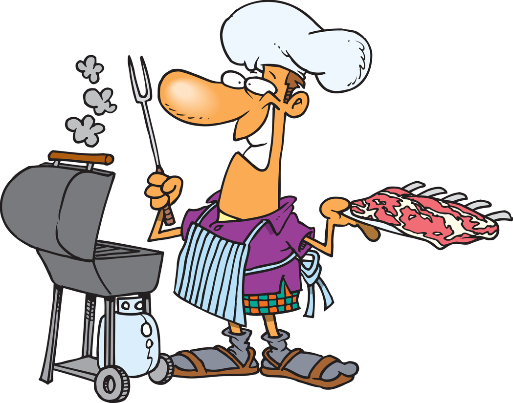 Grilled foods with funny man cartoon
